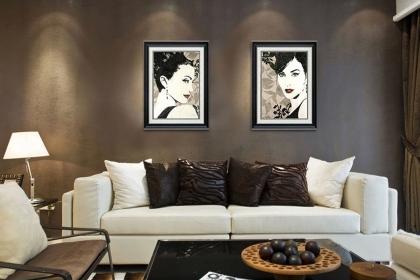 欧式沙发背景墙挂画这样搭配设计,简直太美了!