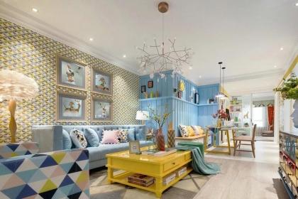 95平米两居室装修设计,混搭风格个性家居布置效果图