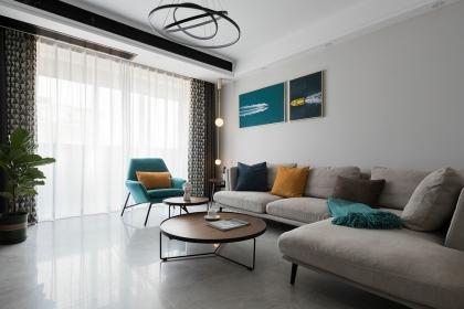 苏州84平现代简约装修案例,黑白灰塑造现代时尚家居