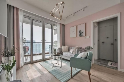 80平米两居室户型设计,简约粉色家居布置