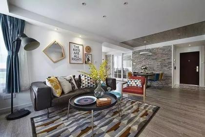 146平米三居室户型装修,多彩北欧现代风设计