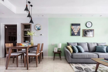 110平米三居室户型装修,纯朴清新北欧风格设计