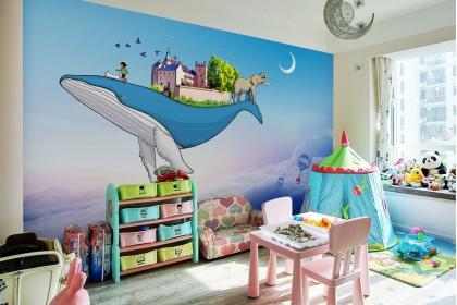 儿童房手绘背景墙,用手绘为孩子创造一个童真空间