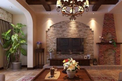 美式拱门电视背景墙效果图,这样的设计也太美了吧图片