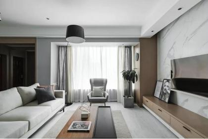三室两厅简约家装效果图,黄金分割的电视墙太有设计感了