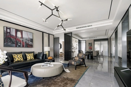 大户型u乐娱乐平台设计案例,新中式U乐国际让家更有品位