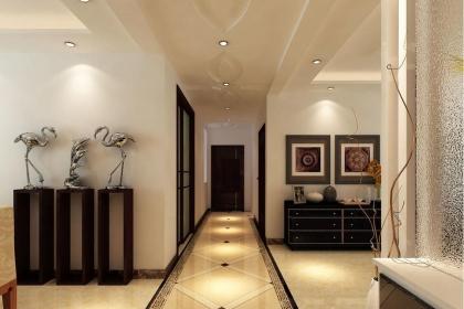 客厅走廊地砖铺装效果图,你家的走廊也可以这么设计
