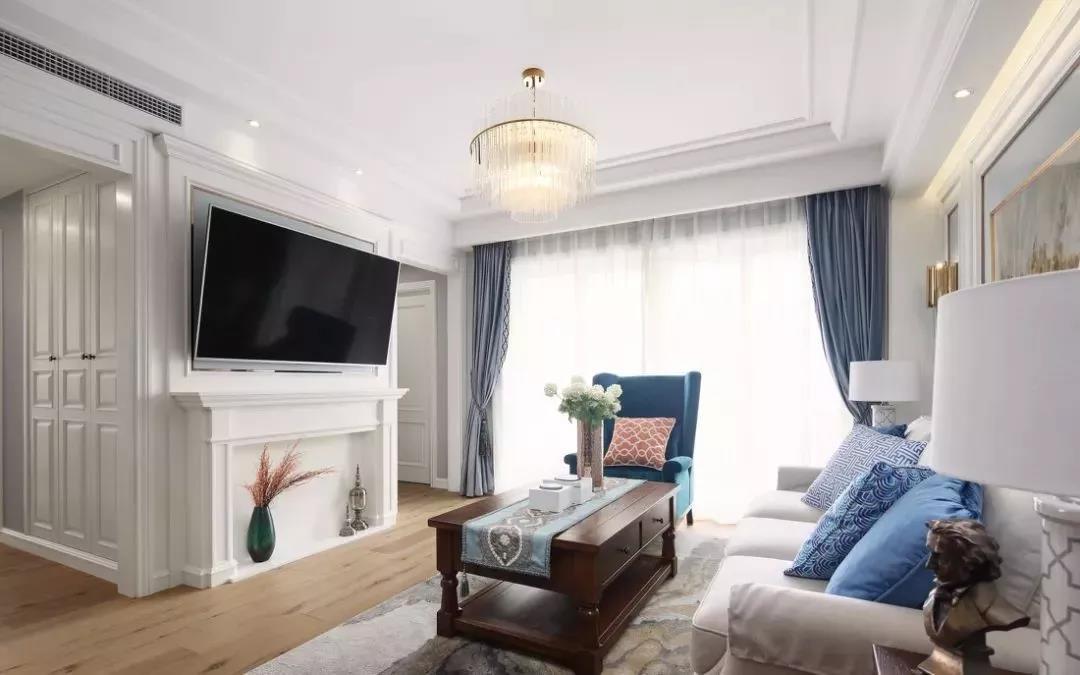 110㎡轻美式装修,新增一面电视墙,多出一个收纳区