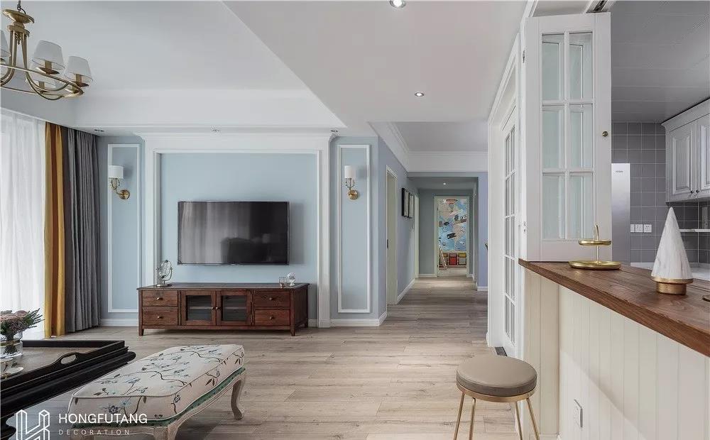 100㎡美式三居室,设计通透,装出150㎡的效果