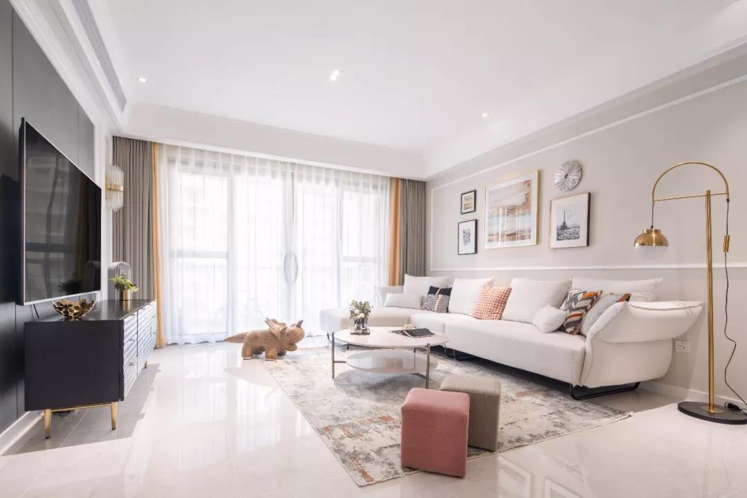 113㎡美式三居室,奶茶色搭配粉白色,整个家太暖了!