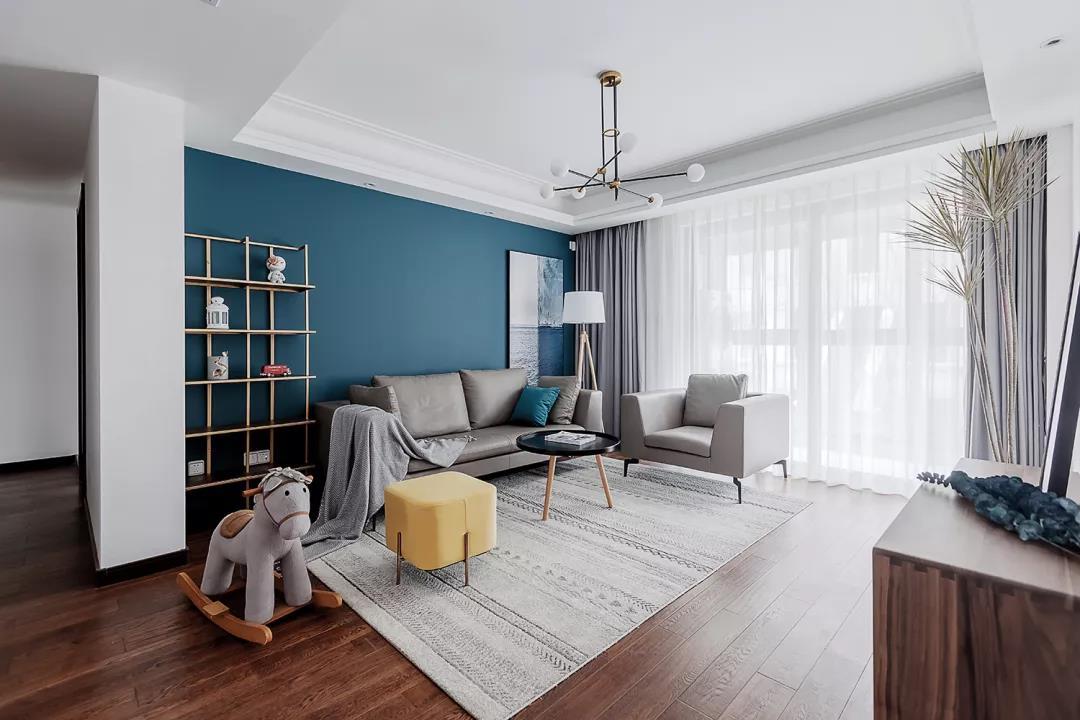120㎡现代混搭3室2厅,一抹微蓝的清新品质生活!