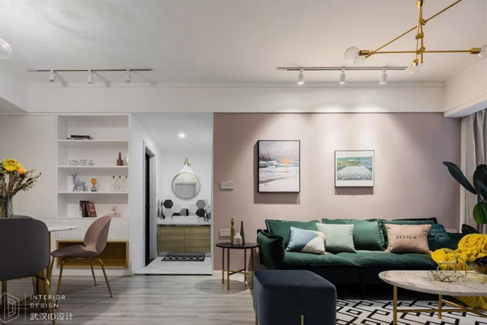 青年婚房90m²挤出3房2厅,头一次见洗手台放过道,粉色客厅太温馨了!