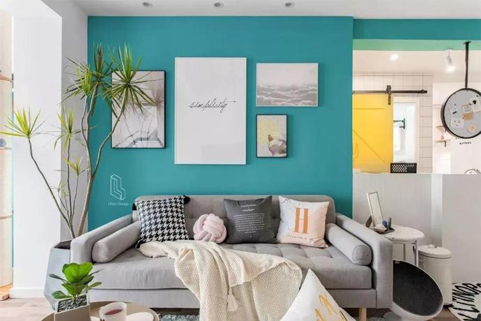 90m²爆改清新二居室,蓝绿色墙好美,晒朋友圈分分钟火爆!
