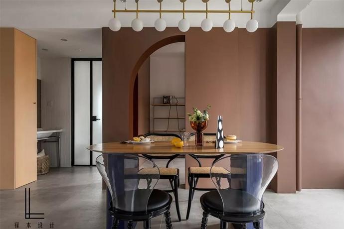 118㎡現代極簡藝術風,咖色拱形門多功能房太驚艷了,處處都是亮點!