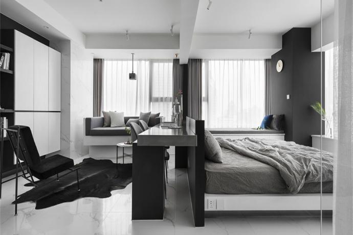 活在当下|极简、未来时尚感的48㎡二人世界小公寓
