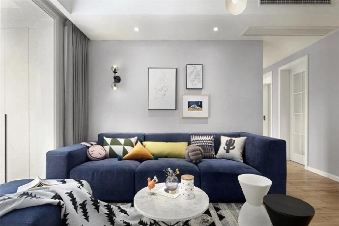 灰色墙面+孔雀蓝沙发,不拘一格的北欧设计