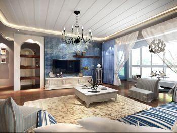客厅蓝色背景墙地中海风格装饰效果图