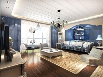 客厅白色吊顶地中海风格装修图片
