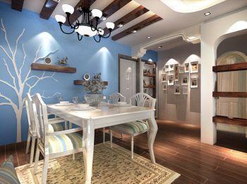 餐厅蓝色背景墙地中海风格装饰图片