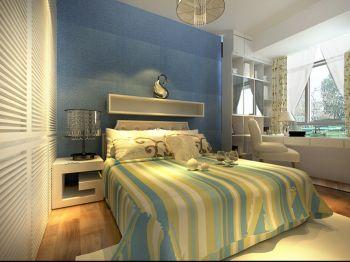 卧室蓝色床地中海风格装潢图片