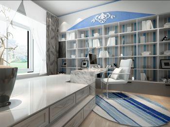 书房白色榻榻米地中海风格装修设计图片