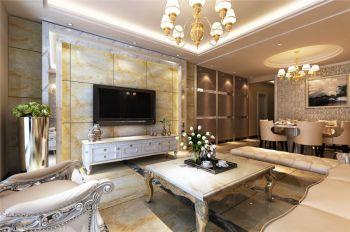 客厅背景墙简欧风格装饰图片