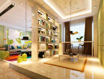 书房绿色榻榻米现代风格装饰图片