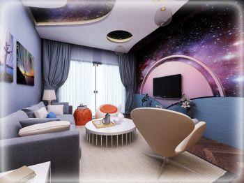客厅紫色背景墙现代风格装潢设计图片