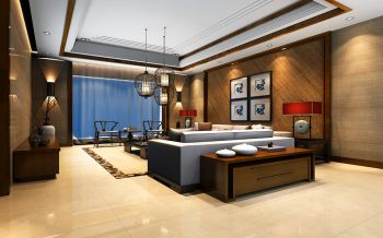 合生国际新中式三居室装修案例效果图