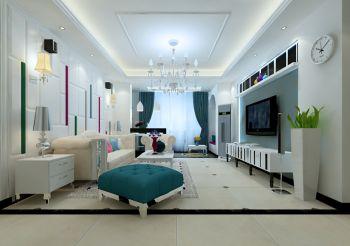 保利玫瑰湾简欧风格时尚二居室装修设计案例图