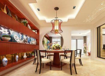 餐厅红色博古架新中式风格效果图