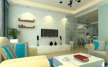 客厅白色背景墙地中海风格效果图