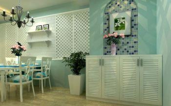 玄关蓝色背景墙地中海风格装修效果图