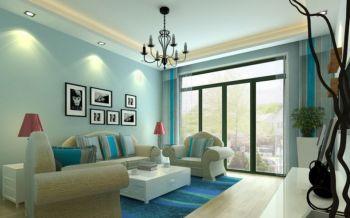 客厅蓝色照片墙地中海风格装饰效果图