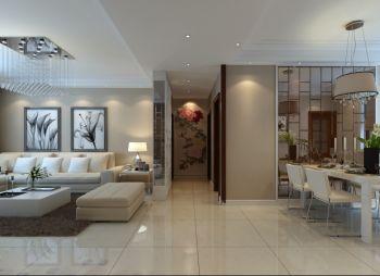 客厅米色走廊现代简约风格装潢效果图