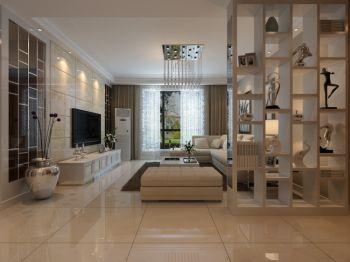 客厅米色隔断现代简约风格装修图片
