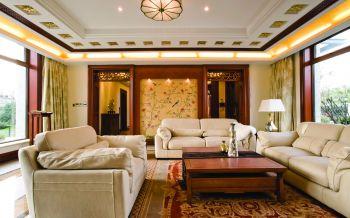 客厅现代中式风格装潢效果图