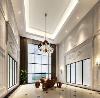 阳台咖啡色窗帘简欧风格装潢效果图