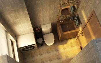 卫生间黄色背景墙美式风格装修效果图