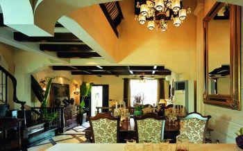 餐厅黄色餐桌东南亚风格装修效果图