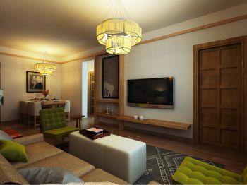 客厅白色背景墙日式风格装潢图片