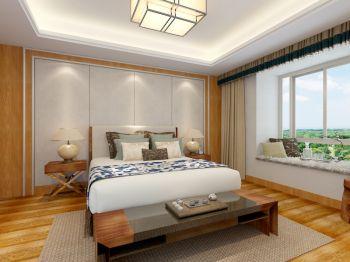 卧室白色飘窗新中式风格装潢图片