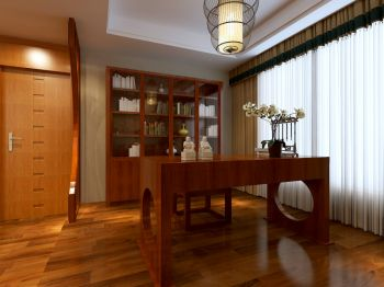 书房白色窗帘新中式风格装饰设计图片