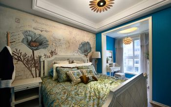 卧室黄色背景墙欧式风格装修图片