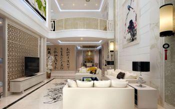 客厅白色细节新中式风格装潢图片