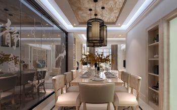 餐厅黑色吊顶新中式风格装修设计图片