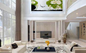 客厅白色背景墙新中式风格装饰设计图片