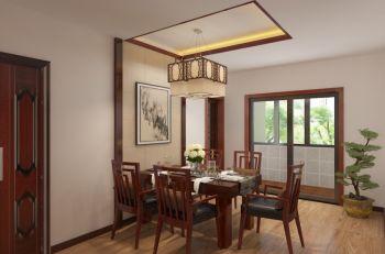 餐厅米色背景墙中式风格装饰图片