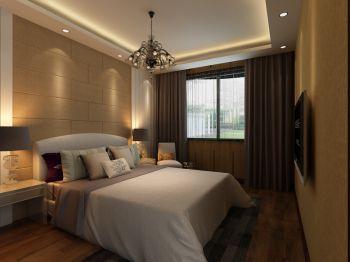 卧室咖啡色窗帘现代简约风格装潢效果图