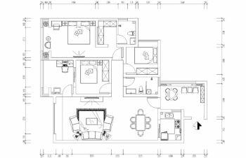 中铁逸都现代风格个性三居室装修案例图